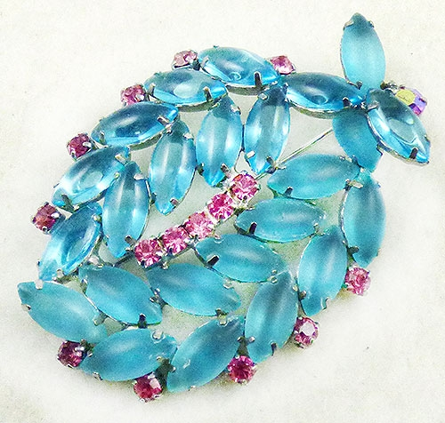 Newly Added Aqua Rhinestone Navettes Brooch