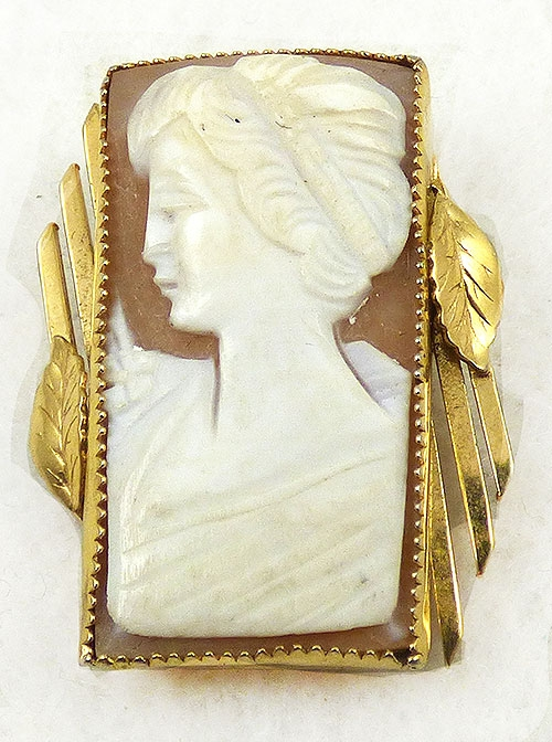 Brooches - Catamore Gold Filled Shell Cameo Brooch