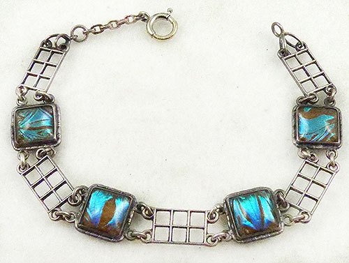 Art Deco - Sterling Butterfly Wing Bracelet