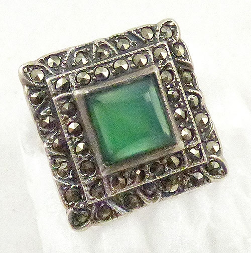 Newly Added Uncas Sterling Chrysoprase and Marcasite Ring