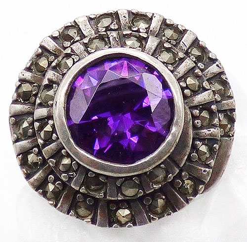 Semi-Precious Gems - Sterling Marcasite Purple Tourmalines Ring