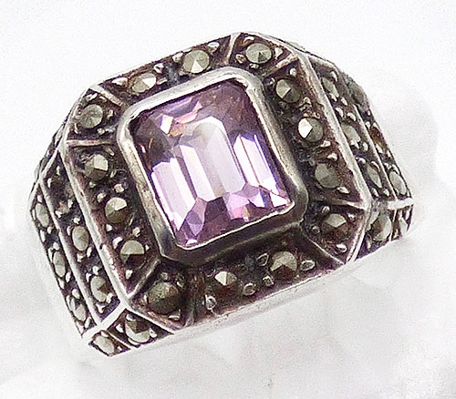 Rings - Pink Glass and Marcasite Sterling Ring