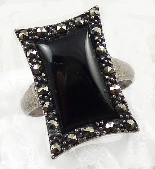 Semi-Precious Gems - Art Deco Sterling Onyx and Marcasite Ring