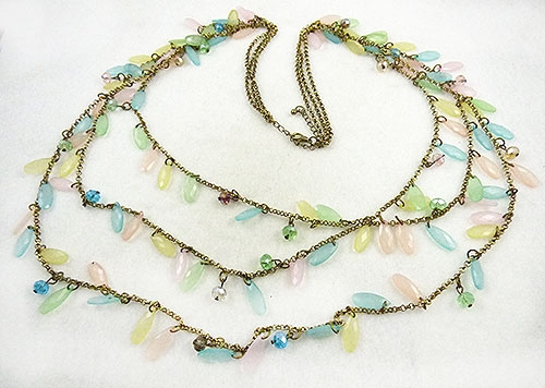 Necklaces - Dangling Pastel Petals Necklace