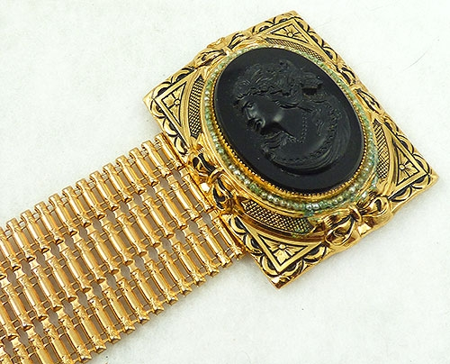 Cameos Intaglios Portraits - Black Glass Cameo Wide Gold Bracelet