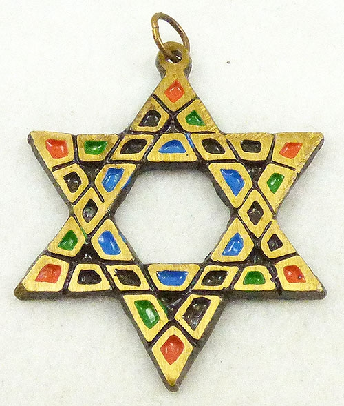 Newly Added Enamel Mosaic Star of David Pendant