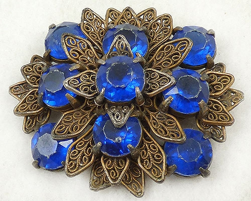 Newly Added Filigree Leaves Blue Rhinestone Brooch