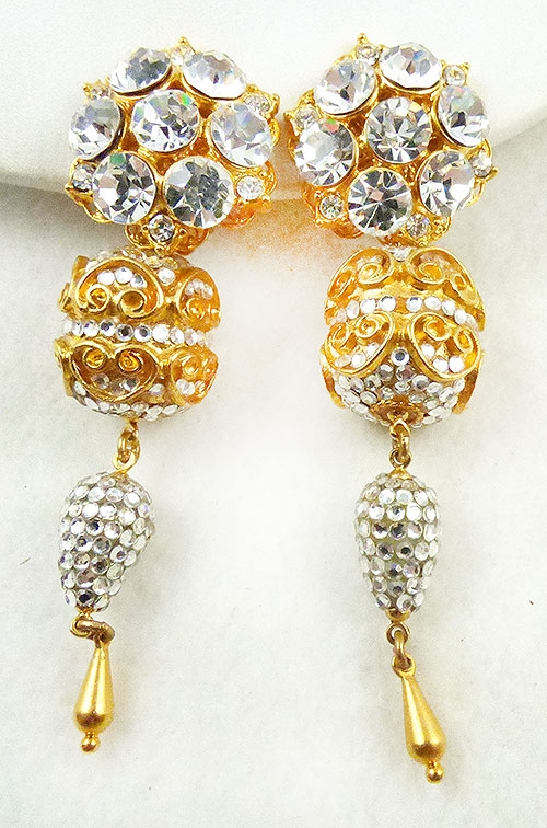 Trend: Spring Summer 2019 Earrings - Crystal Rhinestones Golden Chandelier Drop Earrings