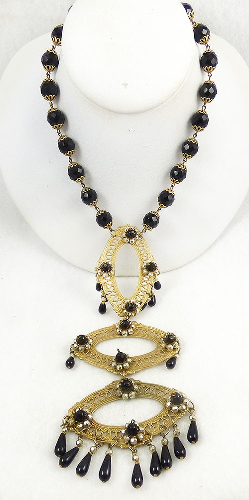 Newly Added French Jet Bead Gold Filigree Long Necklace