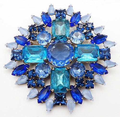 Newly Added Albert Blue and Aqua Rhinestone Brooch