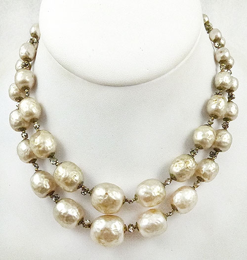 Newly Added Miriam Haskell Double Pearl Necklace