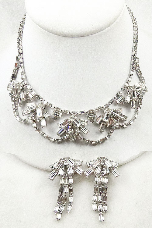 Newly Added Joseph Wiesner Rhinestone Necklace Earrings Set