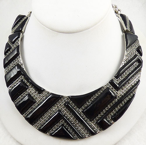 Newly Added Oscar de La Renta Black Rectangles Collar