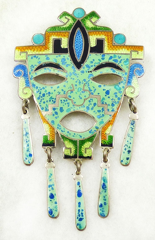 Figural Jewelry - People & Hands - Jeronimo Fuentes Enamel Sterling Mask Brooch