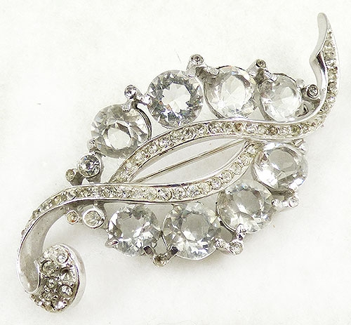 Leaves & Plants - Reja Crystal Rhinestone Leaf Brooch
