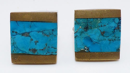 Semi-Precious Gems - Modernist Inlaid Turquoise Cuff Links