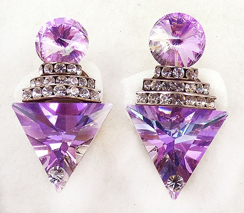 Newly Added Pink Rhinestone Rivoli Collage Earrings