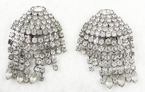 Weiss - Weiss Rhinestone Waterfall Dangles Earrings