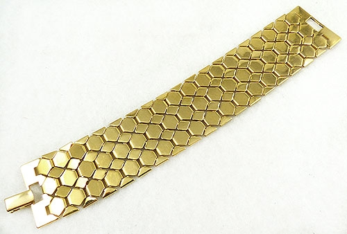 Newly Added Napier Gold Tone Honeycomb Link Bracelet