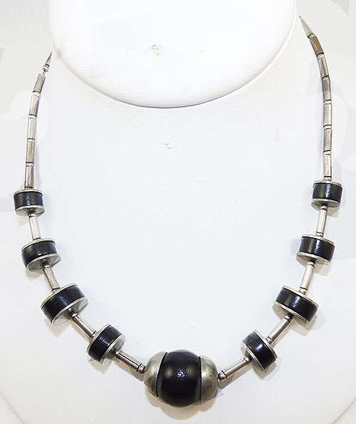 Bengel, Jakob - Jakob Bengel Black Galalith and Chrome Necklace