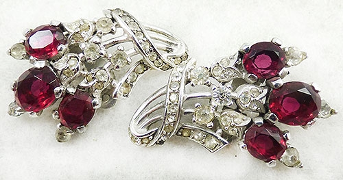 Trifari - Trifari Ruby Rhinestone Earrings