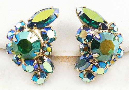 Newly Added Green Aurora Rhinestone Earrings