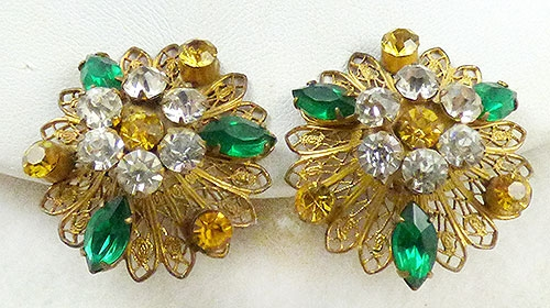 Newly Added Gold Filled Filigree and Rhinestone Earrings