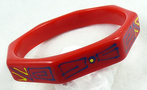 Pop Art - Red Painted Plastic Octagonal Bangle