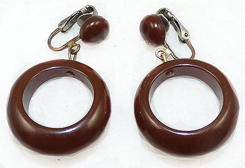 Trend 2020-2021: Circles Hoops and Tubes - Chocolate Brown Bakelite Hoop Earrings