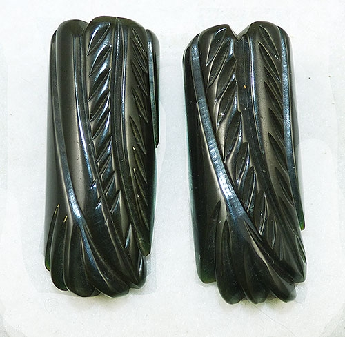 Bakelite, Celluloid, Galalith - Forest Green Carved Bakelite Dress Clips