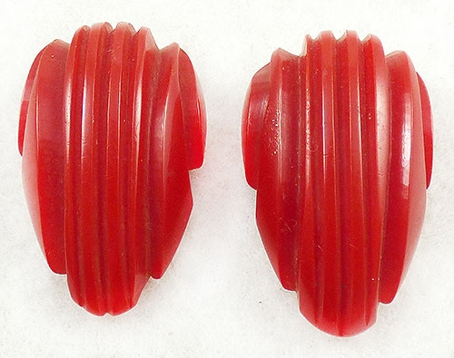 Newly Added Red Bakelite Dress Clips Pair