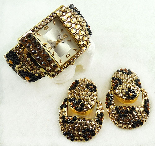 Watches & Accessories - Xanadu Crystal Leopard Print Watch Earring Set