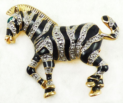 Figural Jewelry - Animals - Rhinestone Black Enamel Zebra Brooch