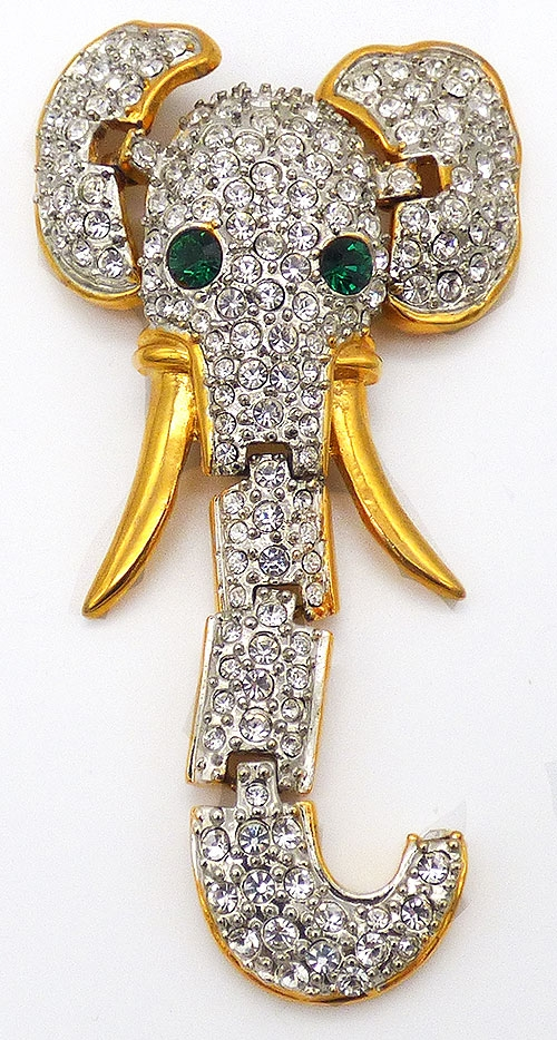 Figural Jewelry - Animals - Articulated Rhinestone Elephant Shoulder Brooch