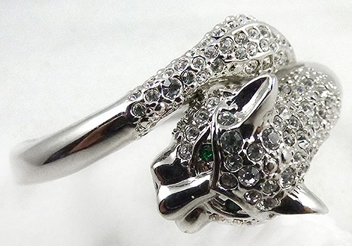 Newly Added Rhinestone Panther Clamper Bracelet