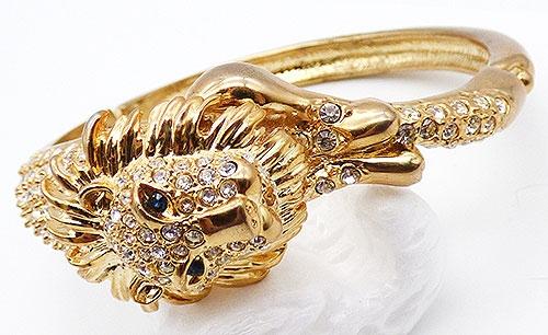 Newly Added Rhinestone Lion Gold Tone Bracelet