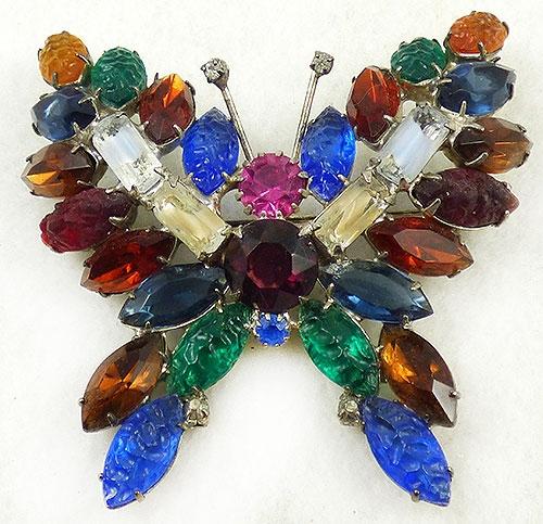 Figural Jewelry - Butterflies & Bugs - Rhinestone Navette Butterfly Brooch