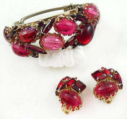 Newly Added Pink and Red Clamper Bracelet Set
