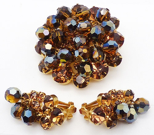 Newly Added DeLizza Elster Chocolate Crystals Brooch Set