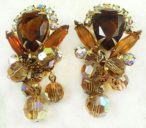 Newly Added DeLizza and Elster Topaz Rhinestone Crystal Earrings