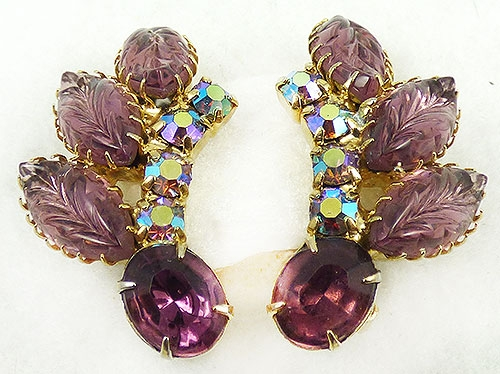 Newly Added Amethyst Glass Leaves Earrings