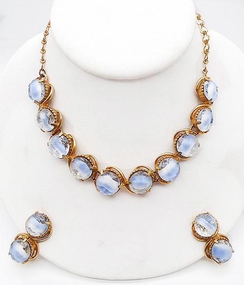 Newly Added Pale Blue Givré Glass Necklace Set
