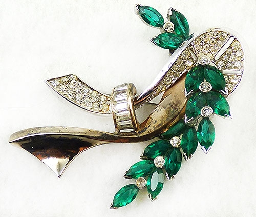 Bows & Ribbons - Dewees Sterling Emerald Navettes Brooch