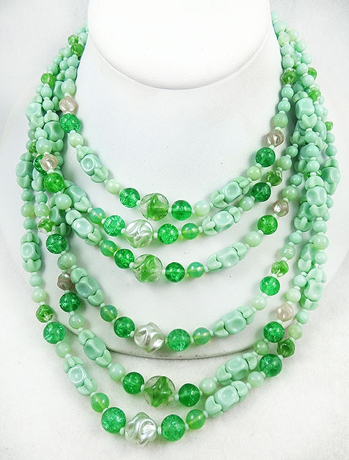 Spring Pastel Jewelry - Mint Green Glass Bead 6-Strand Necklace