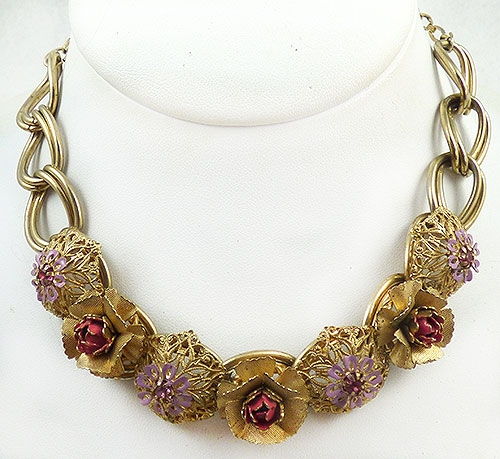 Newly Added Kafin NY Pink Flowers Necklace