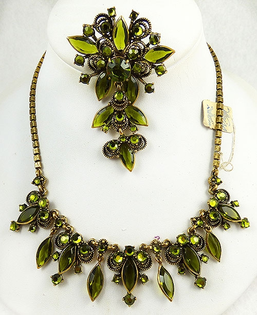 Newly Added Weiss Peridot Rhinestone Demi-Parure