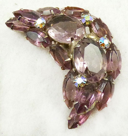Newly Added Amethyst Rhinestone Crescent Brooch