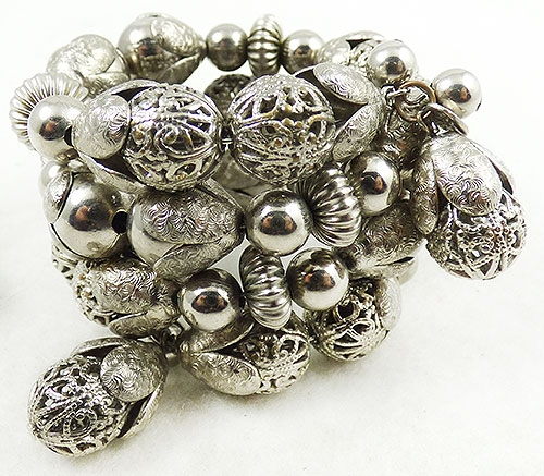 Newly Added Hobé Silver Beads Memory Wire Wrap Bracelet