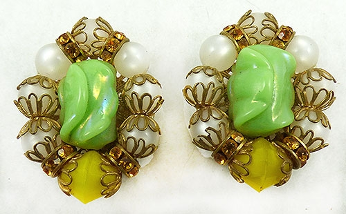 Spring Pastel Jewelry - Hobé Green Art Glass White Moonglow Earrings