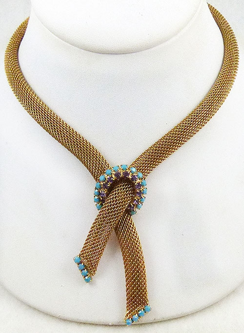 Newly Added Hobé Gold Mesh Bolo Style Necklace